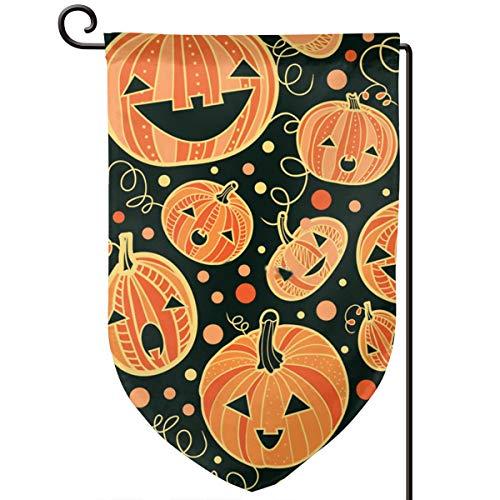 Lilyo-ltd Lustige Halloween-Kürbis-Flagge, 31,8 x 45,7 cm, doppelseitig, Polyester