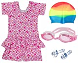 Bloomun Swimming Costume For Kids Girls Pink and White Printed