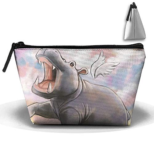 Trapezoidal Toiletry Pouch Makeup Travel Cosmetic Bag Hippo Painting Portable Phone Coin Storage -