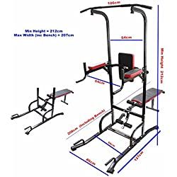 Power Tower Dip Station Chin Up Bar Adjustable VKR Station Abs Workout Knee Crunch Triceps Station