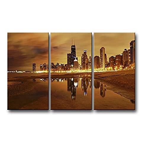 3 Stück Wand Kunst Bild Chicago Skyline Prints auf Leinwand The City Bilder Öl für Home Moderne Dekoration Print Decor
