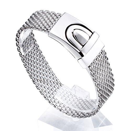 YSM Edelstahl-Armband 220mm Modische Mesh-Design-Armband Herrenschmuck (Silber)