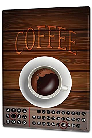 Calendrier perpétuel Coffee Cafe Bar Tasse à café métal