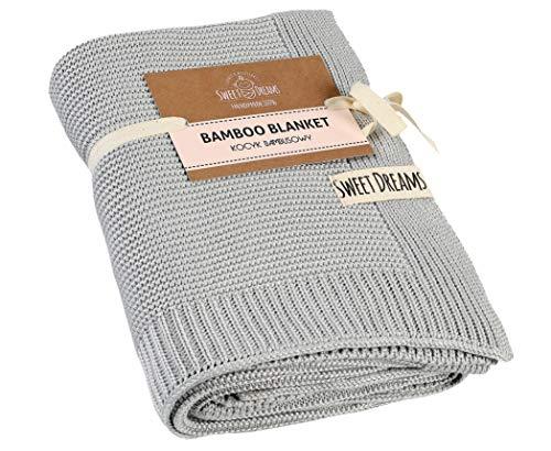 SweetDreams Baby und Kinder Decke aus 100% Bambus-Fasern für Jungen und Mädchen, Öko-Tex 100 Standard, hypoallergen, nachhaltig, 80 x 90 cm, COLOR (1015) (Grau)