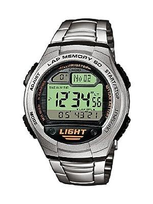 Casio CASIO Collection Men - Reloj digital de caballero de cuarzo con correa de acero inoxidable plateada (alarma, cronómetro, luz) - sumergible a 100 metros