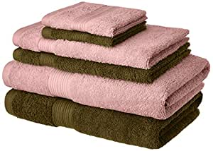 Amazon Brand - Solimo 100% Cotton 6 Piece Towel Set, 500 GSM (Brown and Baby Pink)