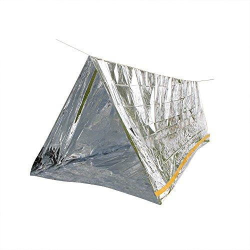 Notfall-Zelt Rettungszelt aus wärmeisolierender Aluminiumfolie Für 2 Personen (Zelt 150 x 240) mit 7 Meter Schnur
