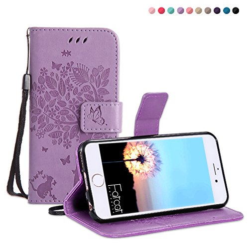 Fatcatparadise iPhone 6S Plus/iPhone 6 Plus Case [With Tempered Glass Screen Protector], Case, Pressed Tree Cat Butterfly Pattern PU Leather Cover For Apple iPhone 6S Plus/iPhone 6 Plus (Lavender)