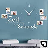 DESIGNSCAPE® Wandtattoo Uhr Familienzeit mit Fotorahmen - Zeit, die man mit der Familie verbringt, ist jede Sekunde wert. 120 x 69 cm (BxH) schwarz inkl. Uhrwerk schwarz, Umlauf 44cm DW813031-M-F4-BK