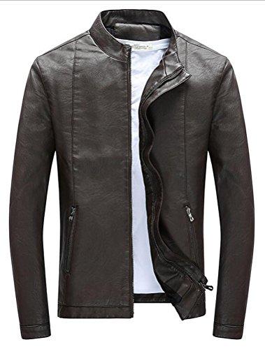 Vogstyle Hommes Veste Fit Basic Biker Cuir Style-7 Marron