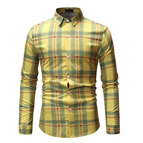 27c6d23aebe1 Camicia da Uomo Slim Fit Camicia da Uomo Blu Cotone Maniche Lungo S M L XL  XXL 3XL