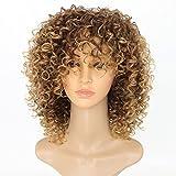 Synthetische Perücken für Frauen lose Locken mit Fransen Full Perücken Maschine Made kurz gelockt Haar Ombre 2Ton Farbe Braun bis blond 35,6cm