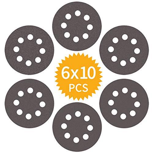 Akuoly Schleifpapier Set 125mm Schleifscheiben P400 P600 P800 P1000 P1500 P2000 für Exzenterschleifer, 8 Loch, 60 Scheiben