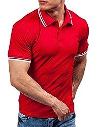 Jiaa Polo de Polo de Solapa Camiseta de Polo de Trabajo,Púrpura,S