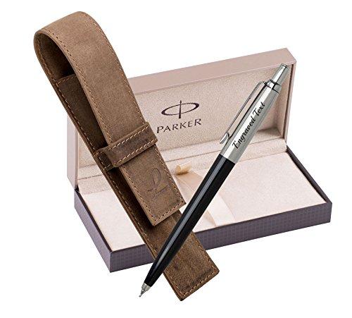 Geburtstagsgeschenk für Mann Parker Bleistift Jotter - schwarz + Ledertasche Jagd braun + Luxuspräsentation Geschenkbox (Leder Schieren)