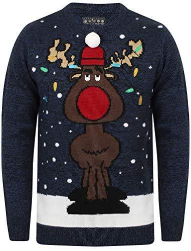 Seasons Greetings Erwachsene Unisex Weihnachts Pullover Designer festlich Weihnachten Pullover - Rapunzel -neu Verföhnt - Saphir/Black, Größe - XL - 44