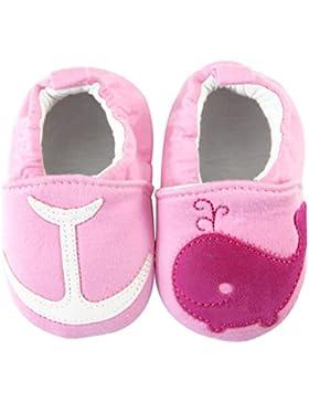 axy Baby Stoff Krabbelschuhe Babyschuhe 0 bis 12 Monate - Wale Pink