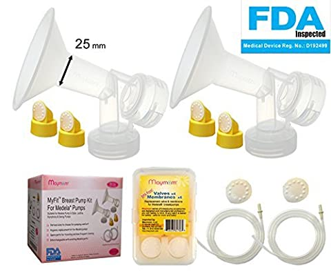 Breast Pump Kit for Medela Pump in Style Advanced Breastpump. Includes 2 Tubing, 2 Breastshields (25 mm, Medium), 4 Valves, 6 Membranes; Replacement Kit for Medela Pump Parts, Made by Maymom
