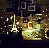 Xqi wangpu Adesivo da Parete Luminoso Torre Eiffel Carta da Parati Fai da Te Un Set Camera da Letto per Bambini Adesivi Fluorescenti con Luce Fluorescente nelle Stelle Scure 35X27cm