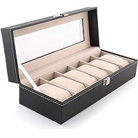 BUCKETLIST® Wrist Watch Storage Box Display Case Organizer of Faux Leather Finish with Glass Window 6 Slot 30x8x11 cm