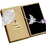 Marcapáginas con diseño vintage de plumas y mariposas metálicas, flores secas creativas, flores eternas, regalo ideal para amigos y familiares (Hoja de plata)
