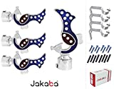 JAKABA Premium Quality Blue Finish Stainless Steel and Alloy Curtain Finials with Heavy Supports - PACK of 8 Pcs. (Finials : 4 Pcs + Supports : 4 Pcs) : Curtain Brackets / Holders for Window / Door - JKB5552BL