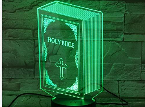 3D-Illusion Nachtlicht Christian Bibel Form Led Nachtlicht Bunten Farbverlauf Visuelle Heimat Religiöse Aktivitäten Dekoration Kinderspielzeug Gläubigen Kreatives Geschenk Usb Nachtlicht