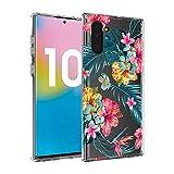 Ostop Coque pour Samsung Galaxy Note 10 Pro,Feuilles Vert Floral Rouge Impression...