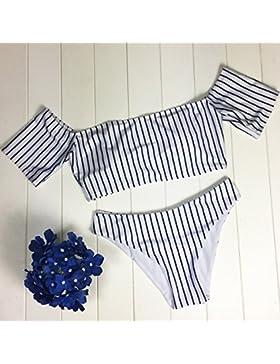 Conjuntos de Bikini Sexy Traje de Baño Trajes de Baño de Rayas de Adelgazamiento Envolvió Pecho Dividido en Blanco...