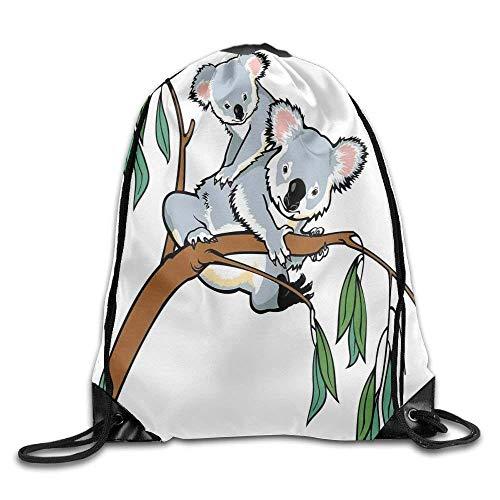 Liumiang Turnbeutel,Sporttaschen,Eco-Friendly Pirnt Mother and Baby Koala Climbing Over Eucalyptus Tree Branch Wildlife Forest Exotic Drawstring Gym Sack Sport Bag for Men and Women (Tree Dollar Rucksäcke)
