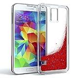 EAZY CASE GmbH Samsung Galaxy S5 / S5 LTE+ / S5 Duos / S5 Neo Schutzhülle mit Flüssig-Glitzer, Handyhülle, Back Cover mit Glitter Flüssigkeit, aus TPU/Silikon, Transparent/Durchsichtig, Rot