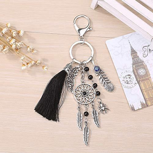 NoNo Autoschlüssel Ringe Einfache Art und Weise Wolle Quaste Traum Fangen Schlüsselanhänger Mädchen-Taschen-Charme, for Mädchen Kinder usw. (2 PCS) (Color : Black) -