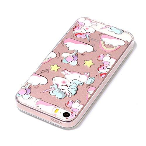 iPhone 5S Hülle, Voguecase Silikon Schutzhülle / Case / Cover / Hülle / TPU Gel Skin für Apple iPhone 5 5G 5S SE(Bunt Teppich 01) + Gratis Universal Eingabestift Regenbogen Einhorn 04