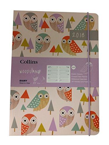 Collins Woodland - Agenda (2018, tamaño A5, vista semanal), diseño de búhos