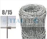 ITALFROM Rotolo 50mt Recinzione Rete Metallica Pastorale-a Maglia Annodata Zincata- Maglia: 8X15 -Diametro Filo:mm1,9/2,5 - Altezza Rete: 100 cm [cod.2227]