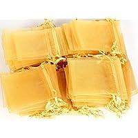 FreshGadgetz 1 Set di 100 Eleganti borse regalo dorate in cotone - Borsa in cotone piccola 7cm x 9 cm per Dolci & Gioielli
