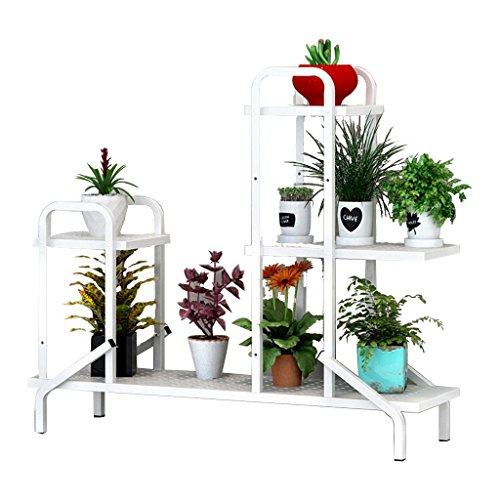 DZW Grilles De Stockage supports Fer art fleur étagères multicouche intérieur voyante balcon grilles salon pot de fleurs rack Plant rack, 100 * 28 * 88 cm , a white,Simple