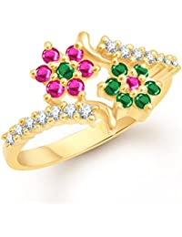 VK Jewels Couple Star Gold And Rhodium Plated Alloy Ring For Women & Girls- FR1782G [VKFR1782G]
