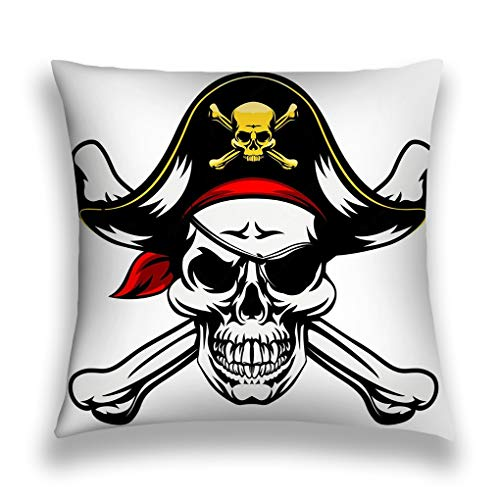 Tyuyui Pillow Cases Skull Crossbones Pirate Dressed Costume hat Eye Patch Grey tempurpedic (Pink Eye Patch Pirate)