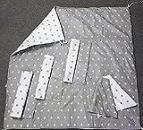 Amazinggirl Spielmatte mit Kissenbezug und dekorative Cape für Kinder Tipi Zelt (Grau/Weiß mit Sterne Matte + 3 x Kissenbezug + Cape)