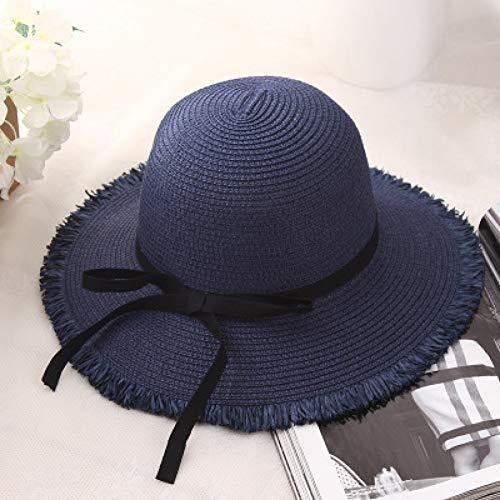 Fxhang Femmes Chapeaux de Paille Naturel Large Bord Fringe Femmes Plaine Grande Plage été Sun Sun Caps Big Straw Cap,a4 Femme Fringe