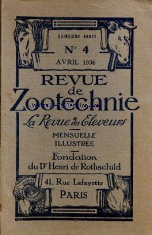 REVUE DE ZOOTECHNIE (LA) [No 4] du 01/04/1936