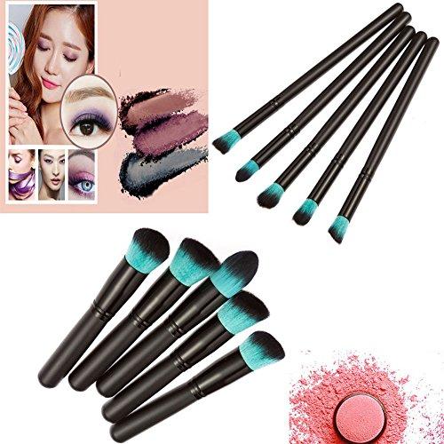 Greatlizard 10pcs Pro Brushes Set Makeup Tools Face Powder Eyeshadow Blush Cosmetic Brush