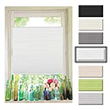 Atlaz Easyfix Plisseerollo Faltrollo ohne Bohren Klemmfix für Fenster 35x130cm (BxH) Weiß Plissee Rollo Jalousie Fensterrollo mitKlemmträger für Fenster und Tür