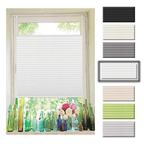 Atlaz Easyfix Plissee Rollo Raffrollo ohne Bohren Klemmfix für Fenster 75x200cm (BxH) Weiß Plisseerollo Jalousie Sonnenschutzrollo Fensterrollo mitKlemmträger für Fenster und Tür
