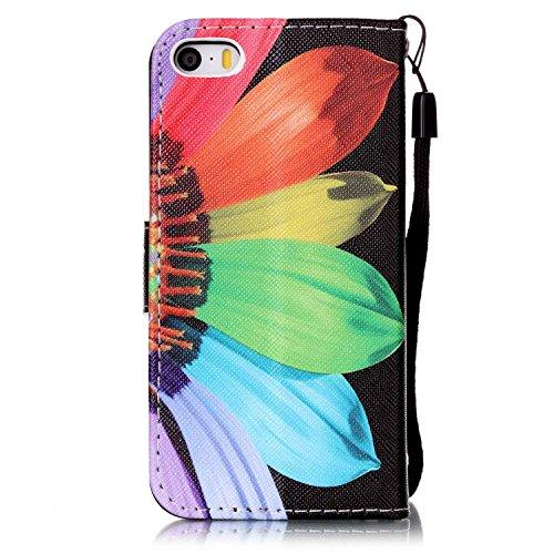 Custodia iPhone SE, custodia a portafoglio iPhone 5S in ecopelle Toymm PU con scomparti per carte di credito e chiusura magnetica, design in 3D, custodia di protezione intero corpo del telefono con pe Sunflower