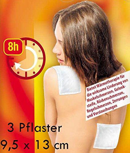3 Stück Wärme-Pflaster 13 x 9,5 cm bei Rückenschmerzen Muskelschmerzen Zerrungen und Verstauchungen
