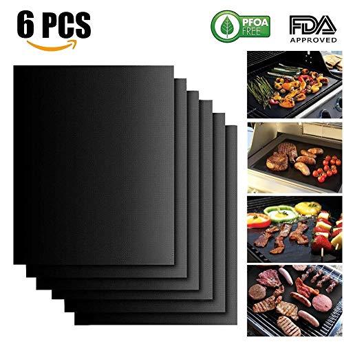 Bbq grill mat, evneed liner, set di 6barbecue tappetino da forno antiaderente durevole, resistente, riutilizzabile e facile da pulire, dimensioni 33x 40,6cm colore nero