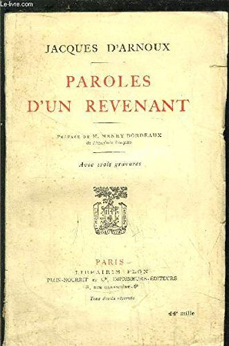 Paroles d'un revenant par D'Arnoux Jacques
