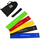 Resistance Loop Bands, Exercise Bands, TechRise Set of 5 Natural Latex Fitness Bands for Workout and Physical Therapy, E-Guide, Pilates, Yoga, Rehab, Improve Mobility and Strength